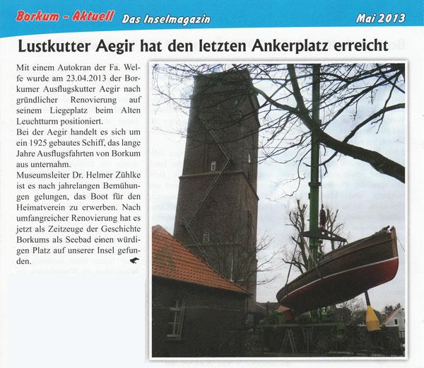 Lustkutter Aegir hat den letzten Ankerplatz erreicht