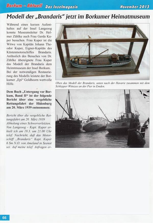 Modell der Brandaris jetzt im Heimatmuseum Borkum