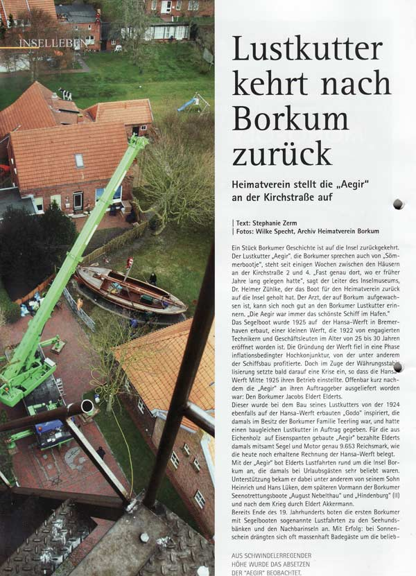 Lustkutter kehrt nach Borkum zurück