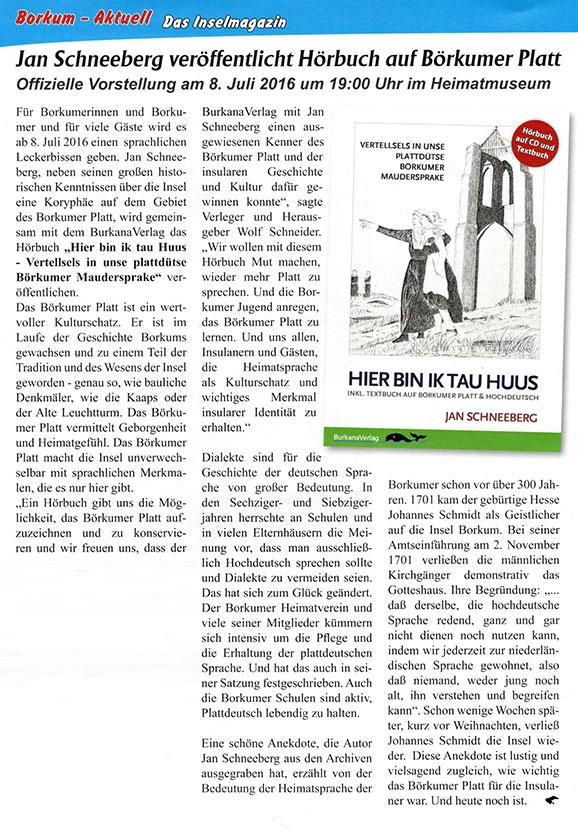 Jan Schneeberg veröffentlicht Hörbuchauf Borkumer Platt