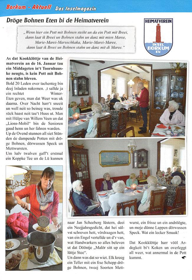 Dröge Bohnen Eten bi de Heimatverein