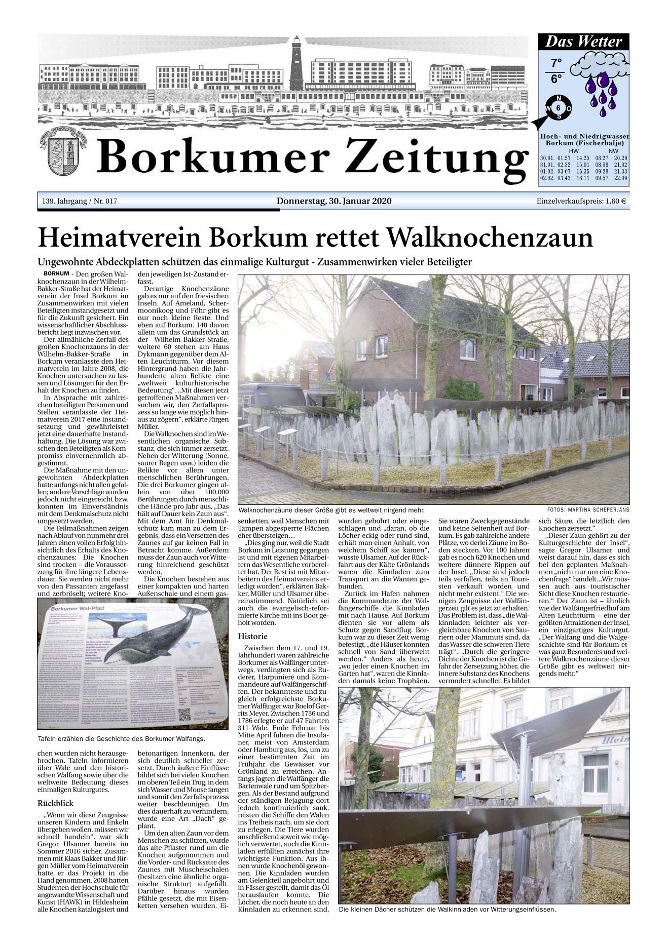 Heimatverein Borkum rettet Walknochenzaun